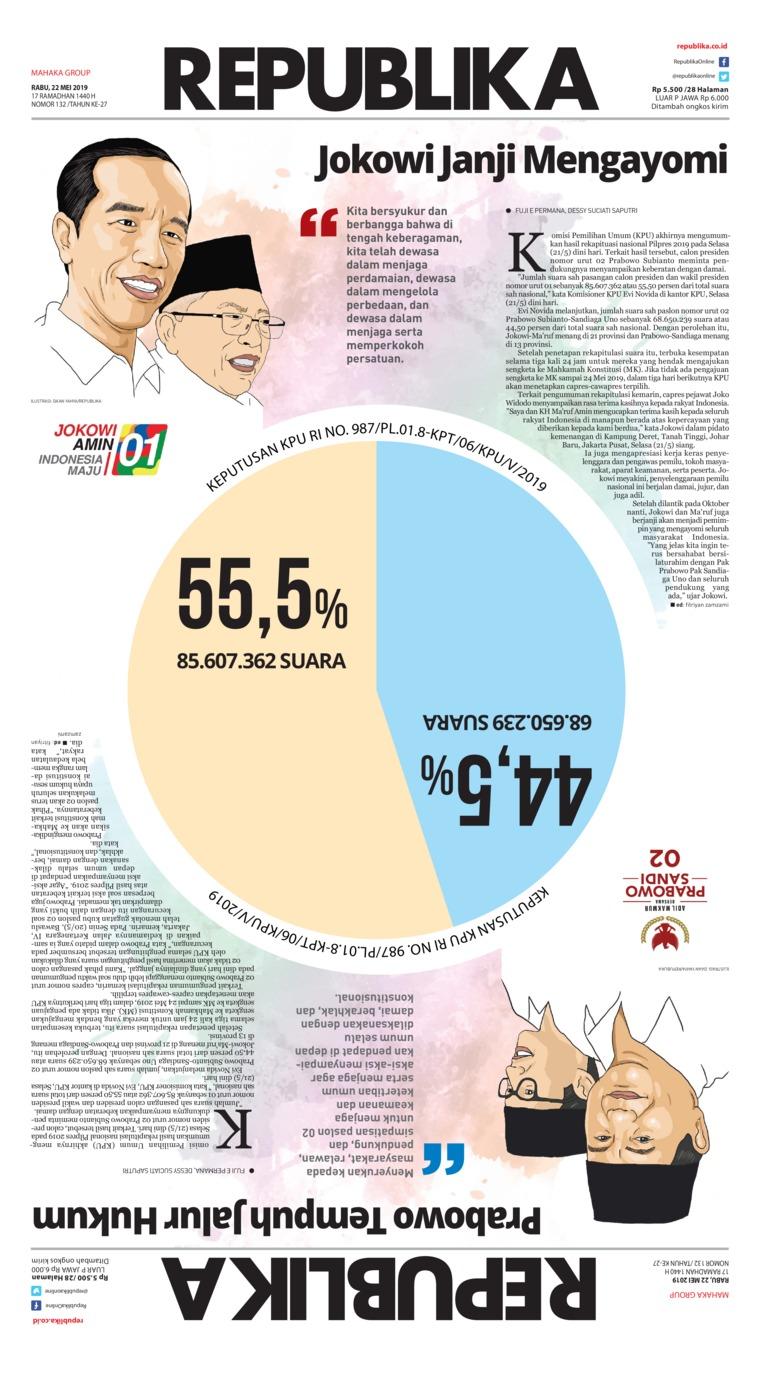 Koran Republika Digital Newspaper 22 May 2019