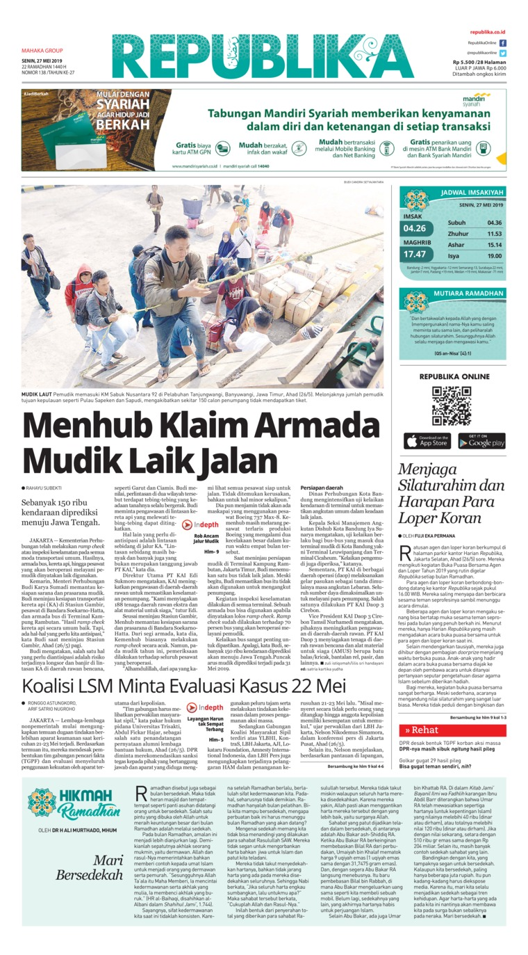 Koran Republika Digital Newspaper 27 May 2019