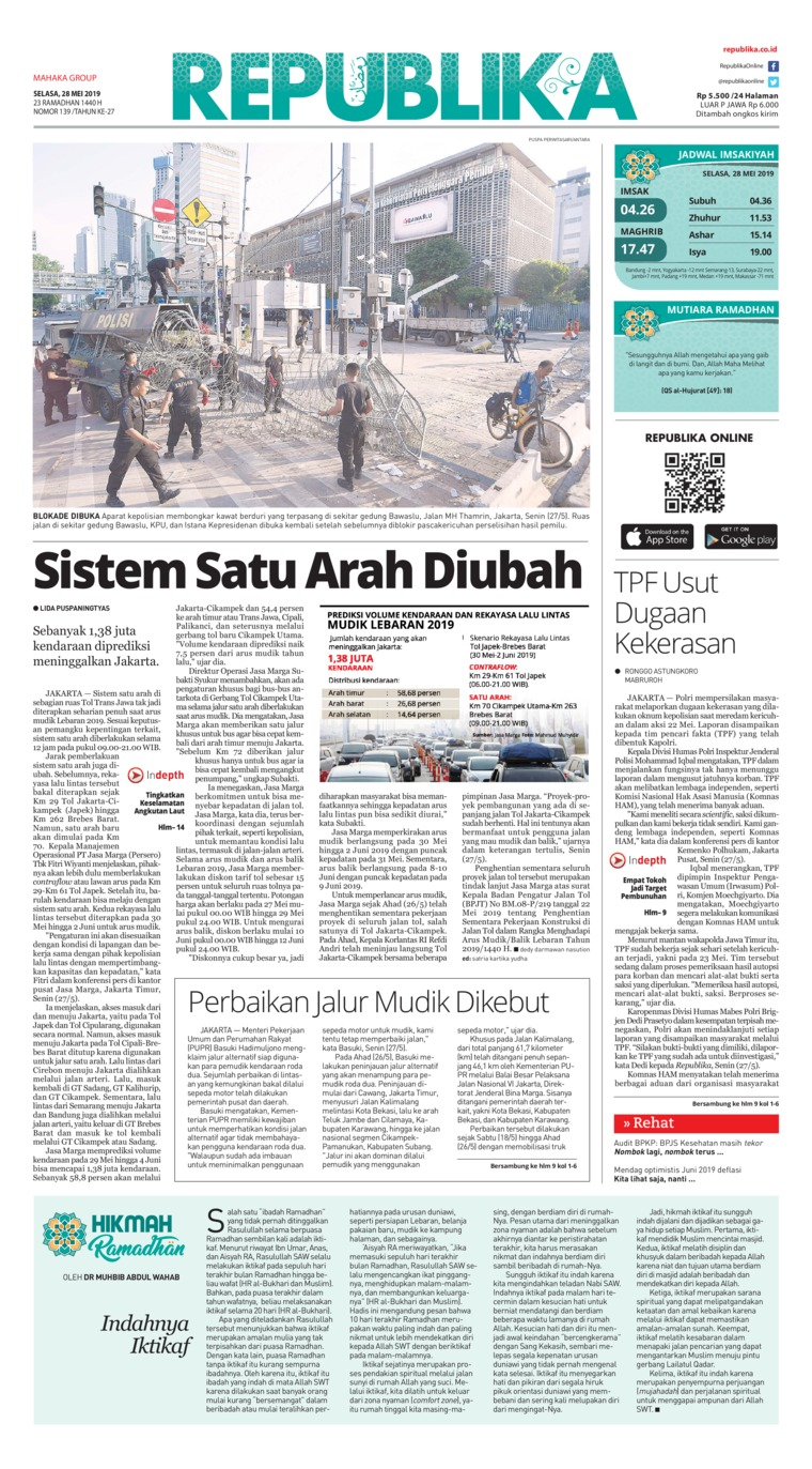 Koran Republika Digital Newspaper 28 May 2019