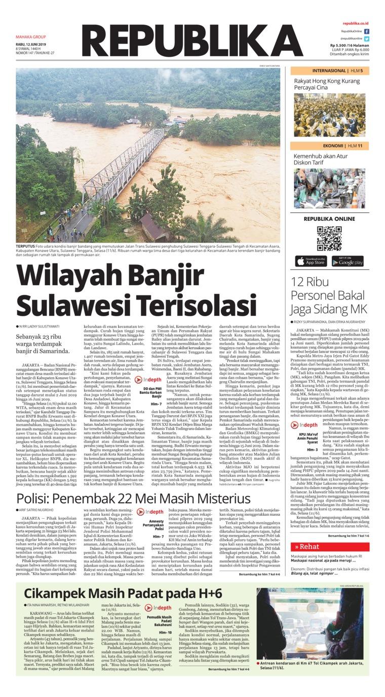 Koran Republika Digital Newspaper 12 June 2019
