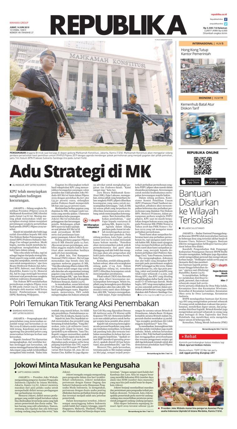 Koran Republika Digital Newspaper 14 June 2019