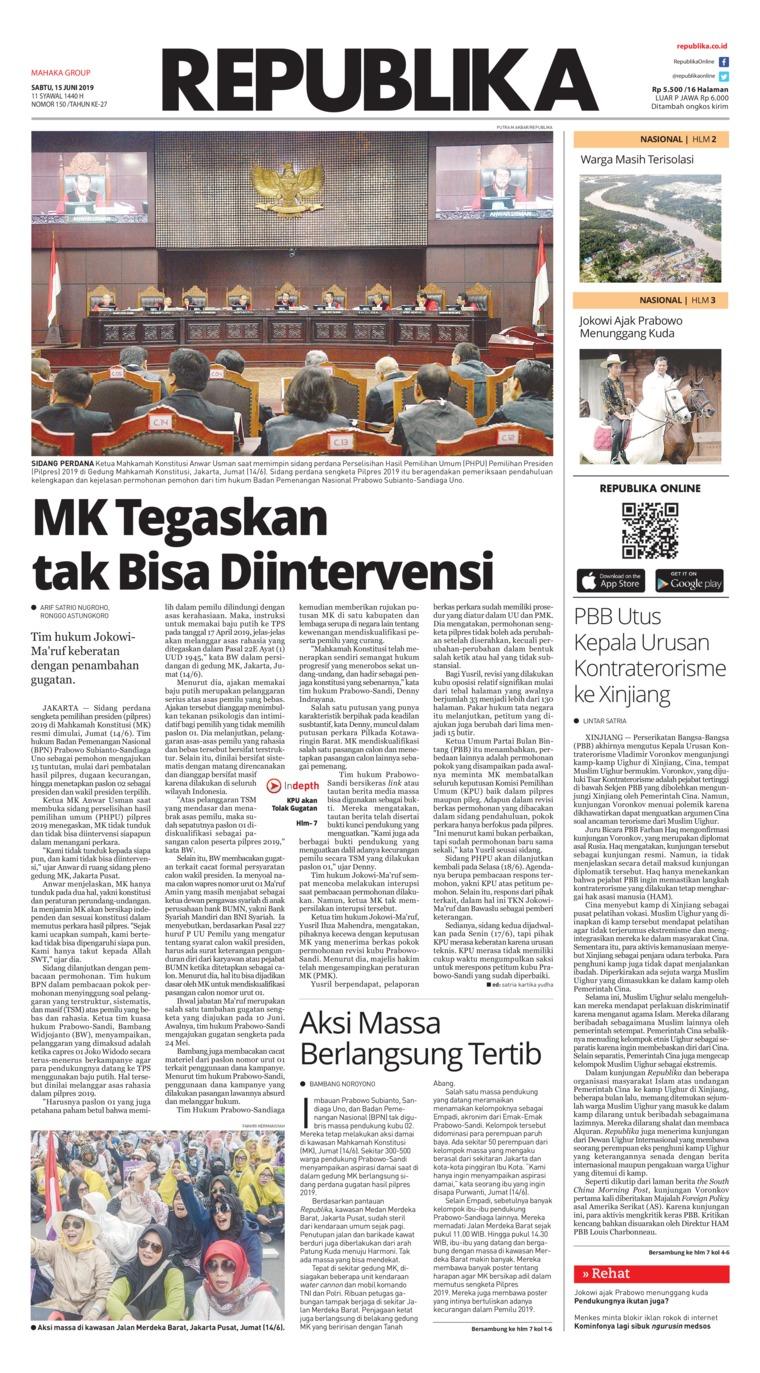 Koran Republika Digital Newspaper 15 June 2019