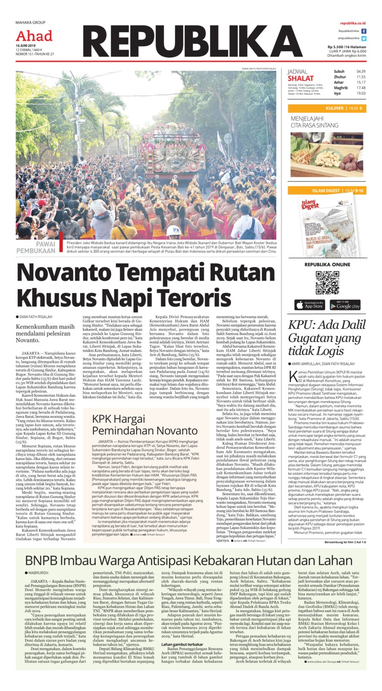 Koran Republika Digital Newspaper 16 June 2019