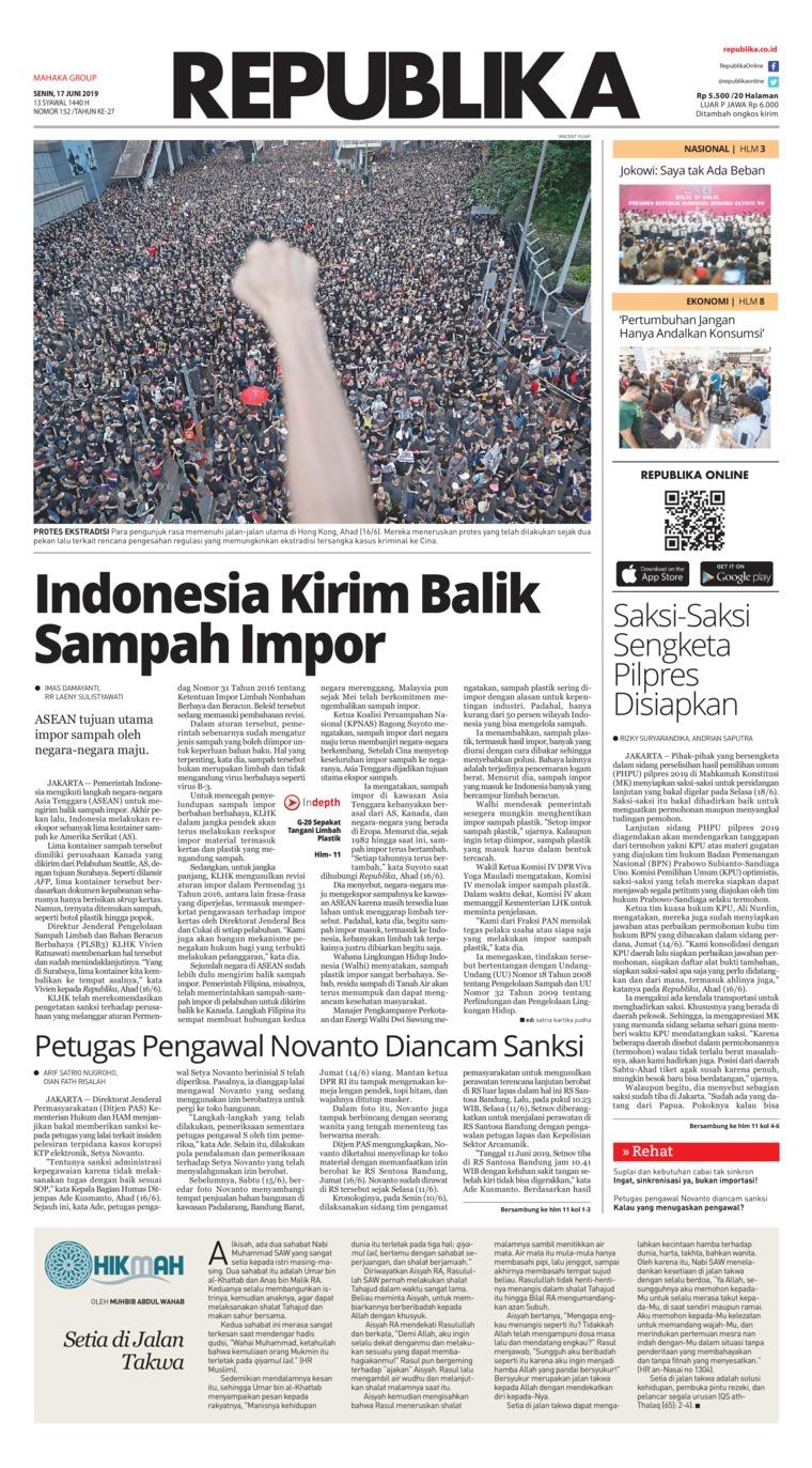 Koran Republika Digital Newspaper 17 June 2019