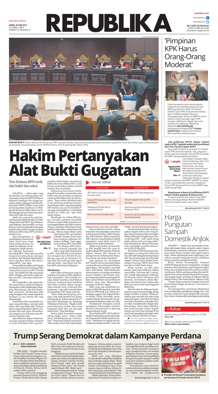 Koran Digital Koran Republika 20 Juni 2019