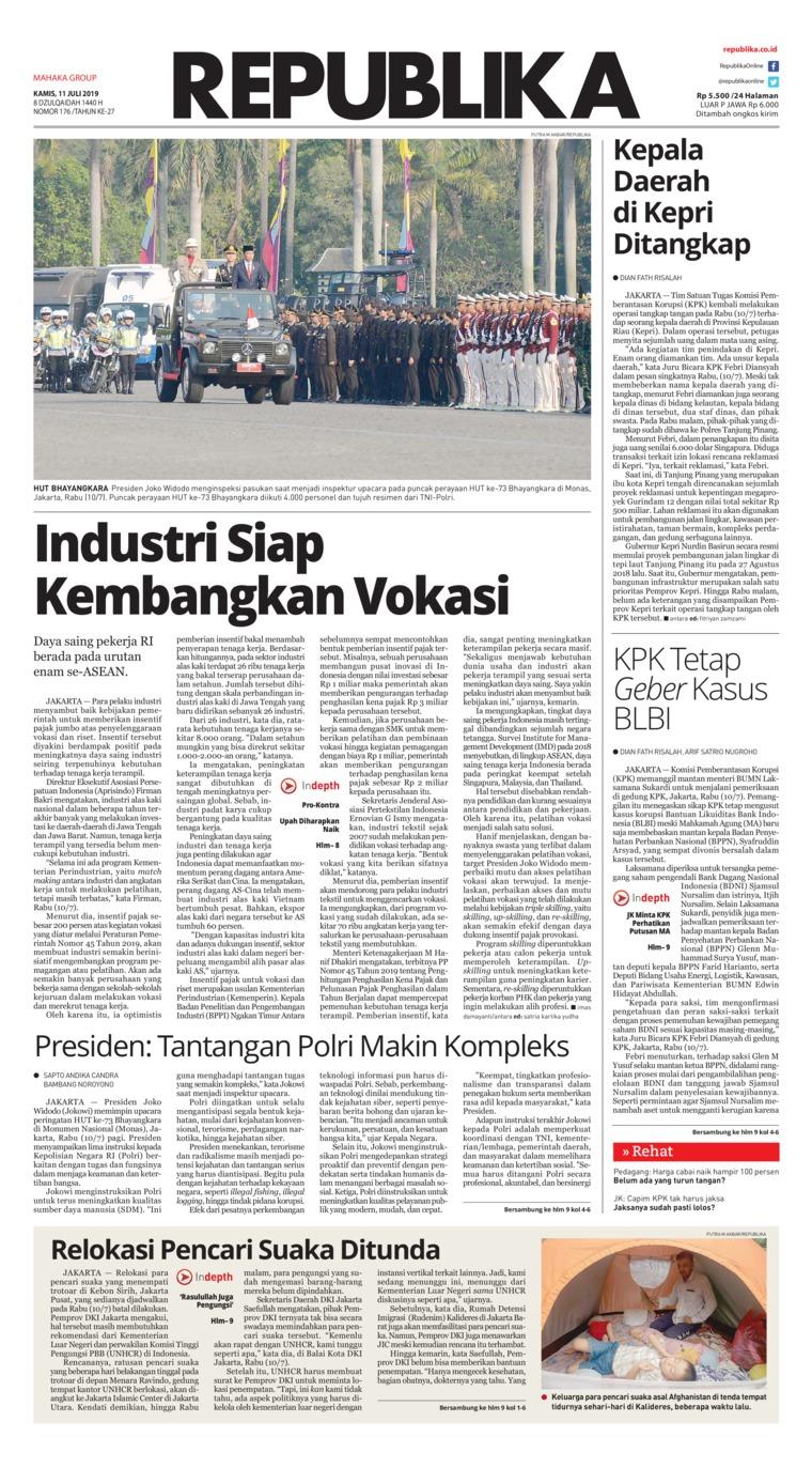 Koran Republika Digital Newspaper 11 July 2019