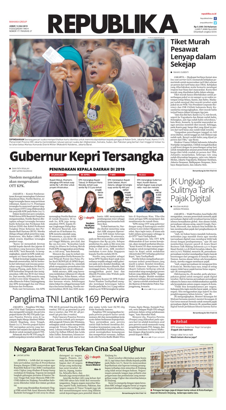 Koran Republika Digital Newspaper 12 July 2019