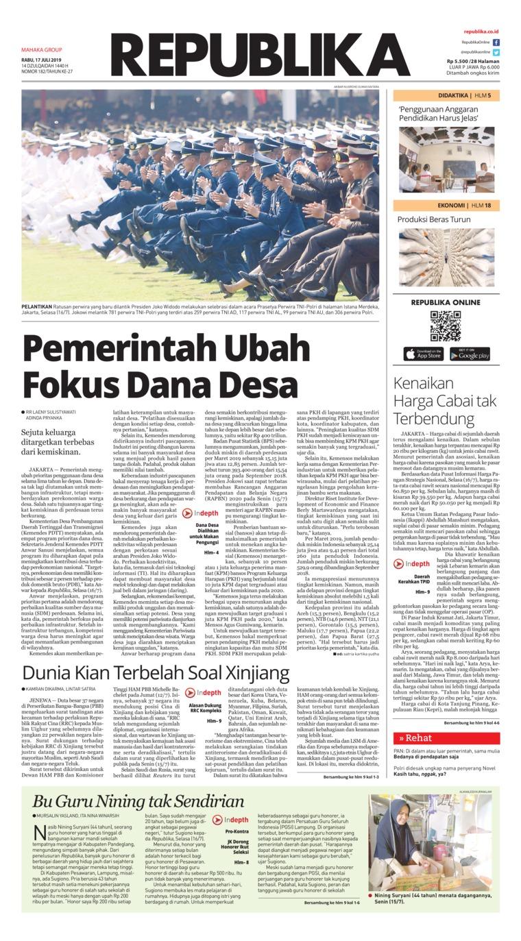 Koran Republika Digital Newspaper 17 July 2019