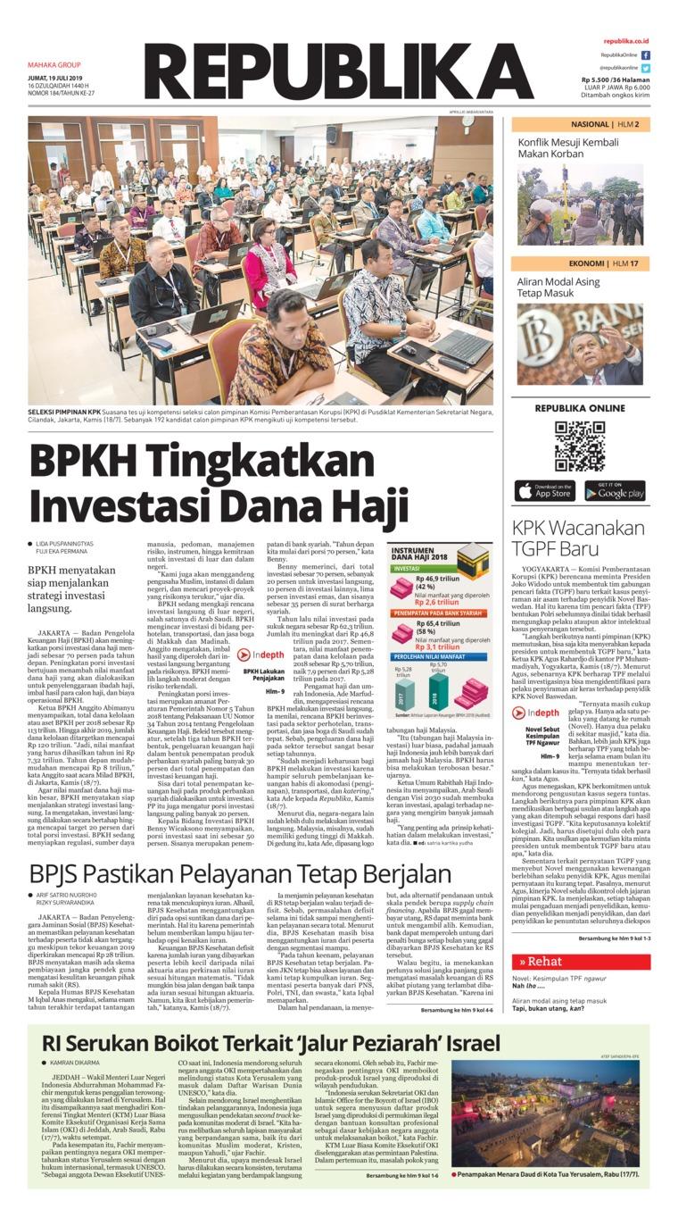 Koran Republika Digital Newspaper 19 July 2019