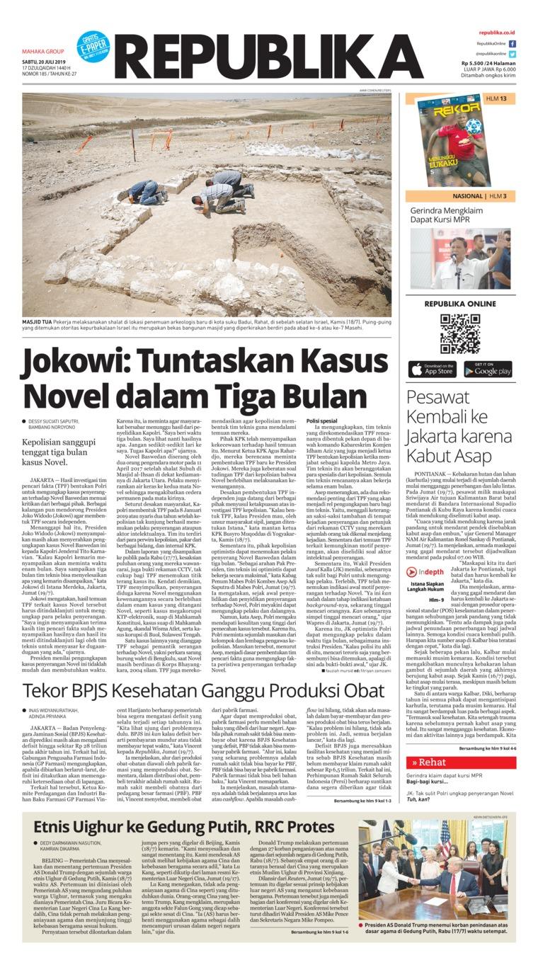 Koran Republika Digital Newspaper 20 July 2019