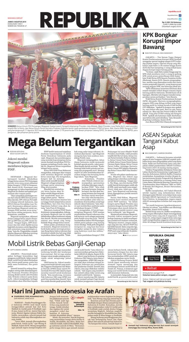 Koran Digital Koran Republika 09 Agustus 2019