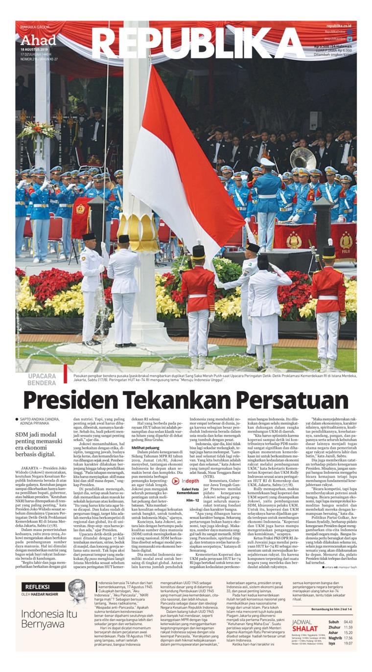 Koran Republika Digital Newspaper 18 August 2019