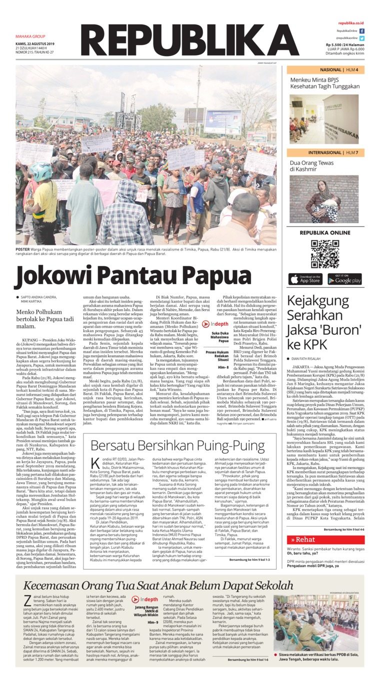 Koran Republika Digital Newspaper 22 August 2019