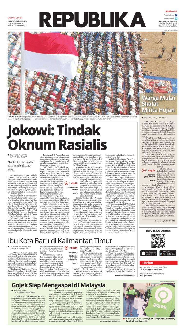 Koran Digital Koran Republika 23 Agustus 2019