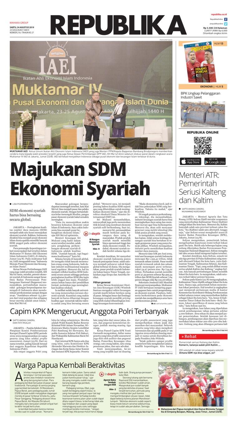 Koran Republika Digital Newspaper 24 August 2019