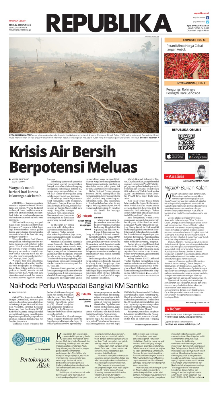 Koran Republika Digital Newspaper 26 August 2019