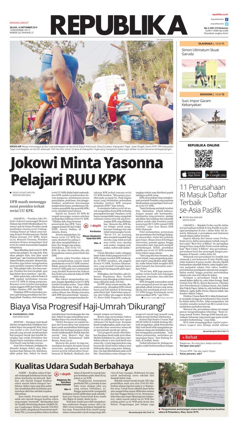 Koran Republika Digital Newspaper 10 September 2019