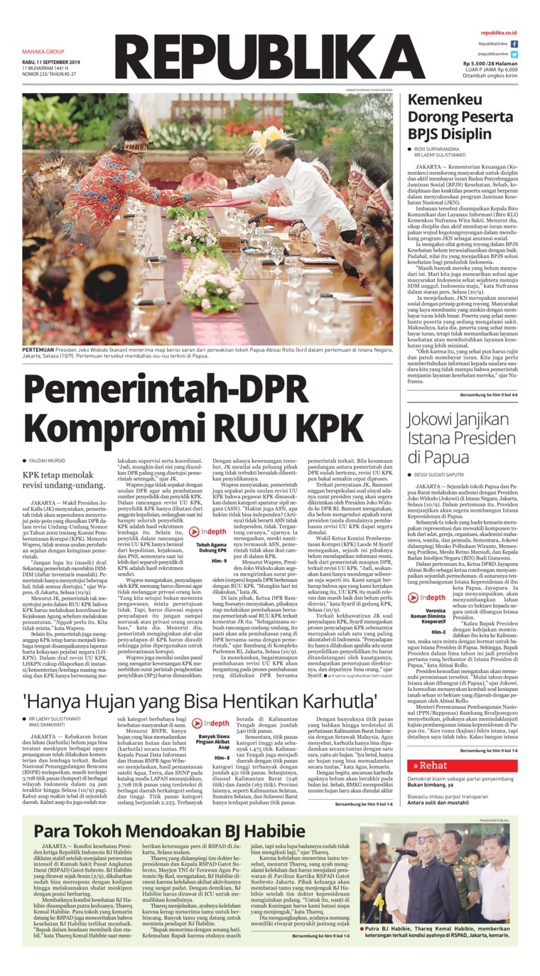 Koran Republika Digital Newspaper 11 September 2019