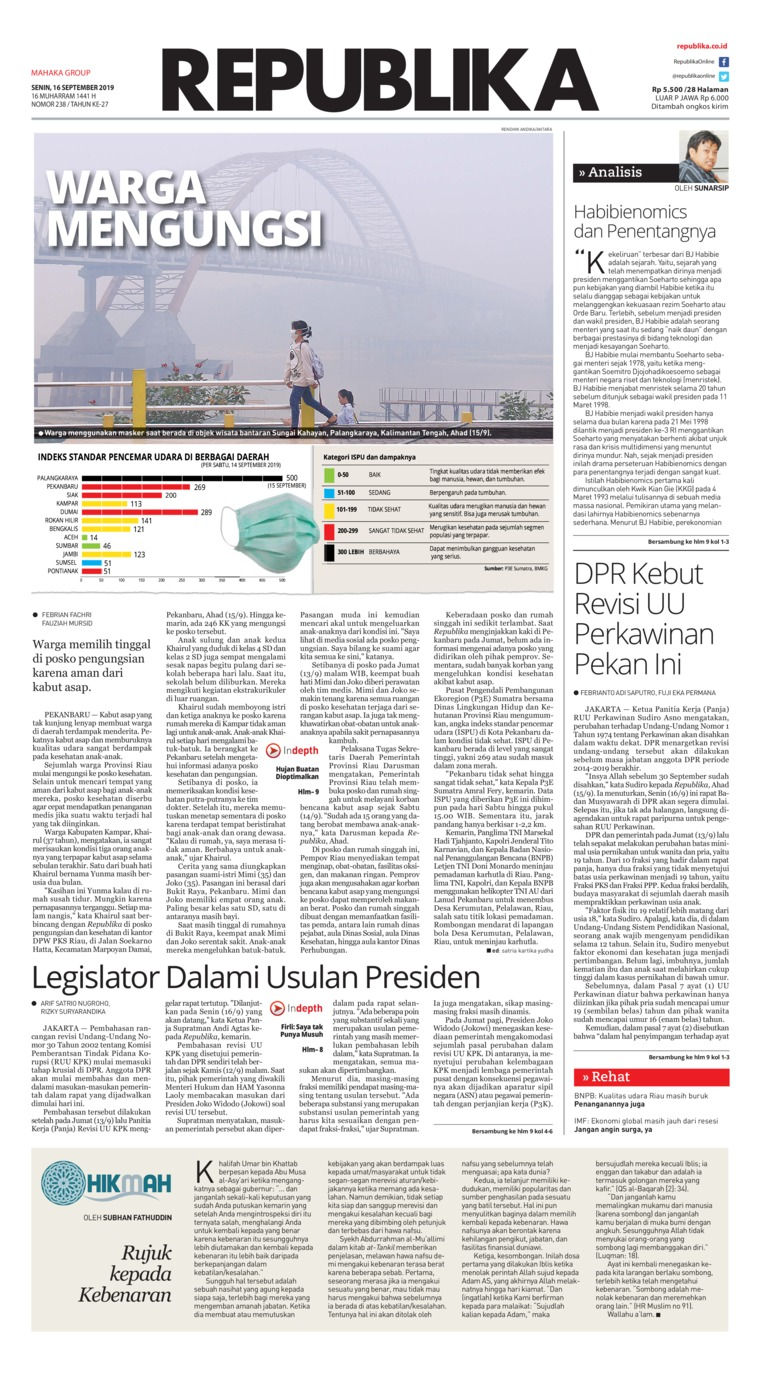 Koran Republika Digital Newspaper 16 September 2019