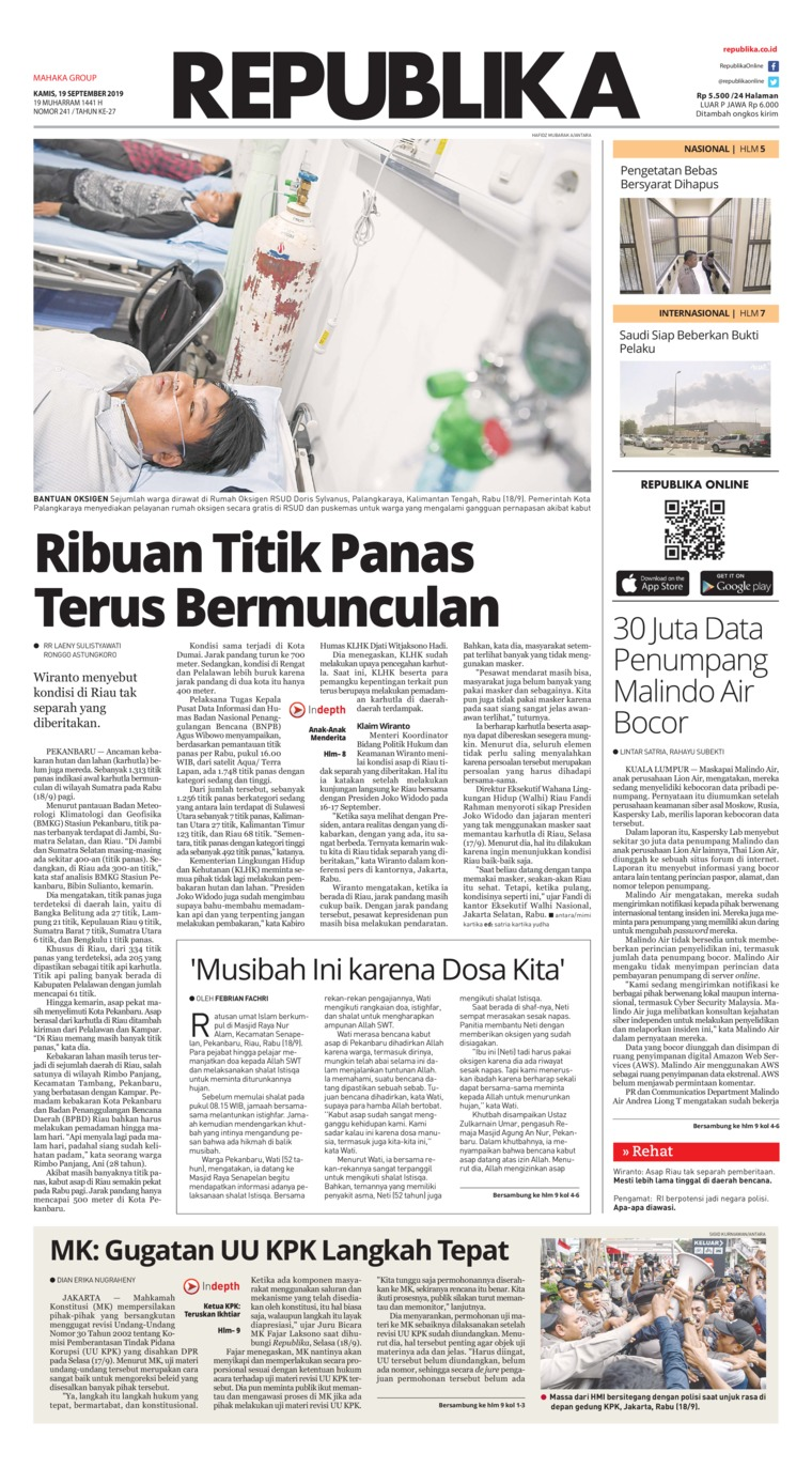 Koran Republika Digital Newspaper 19 September 2019