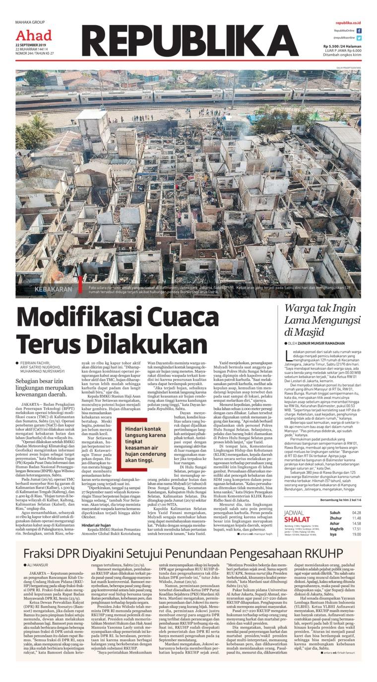 Koran Digital Koran Republika 22 September 2019