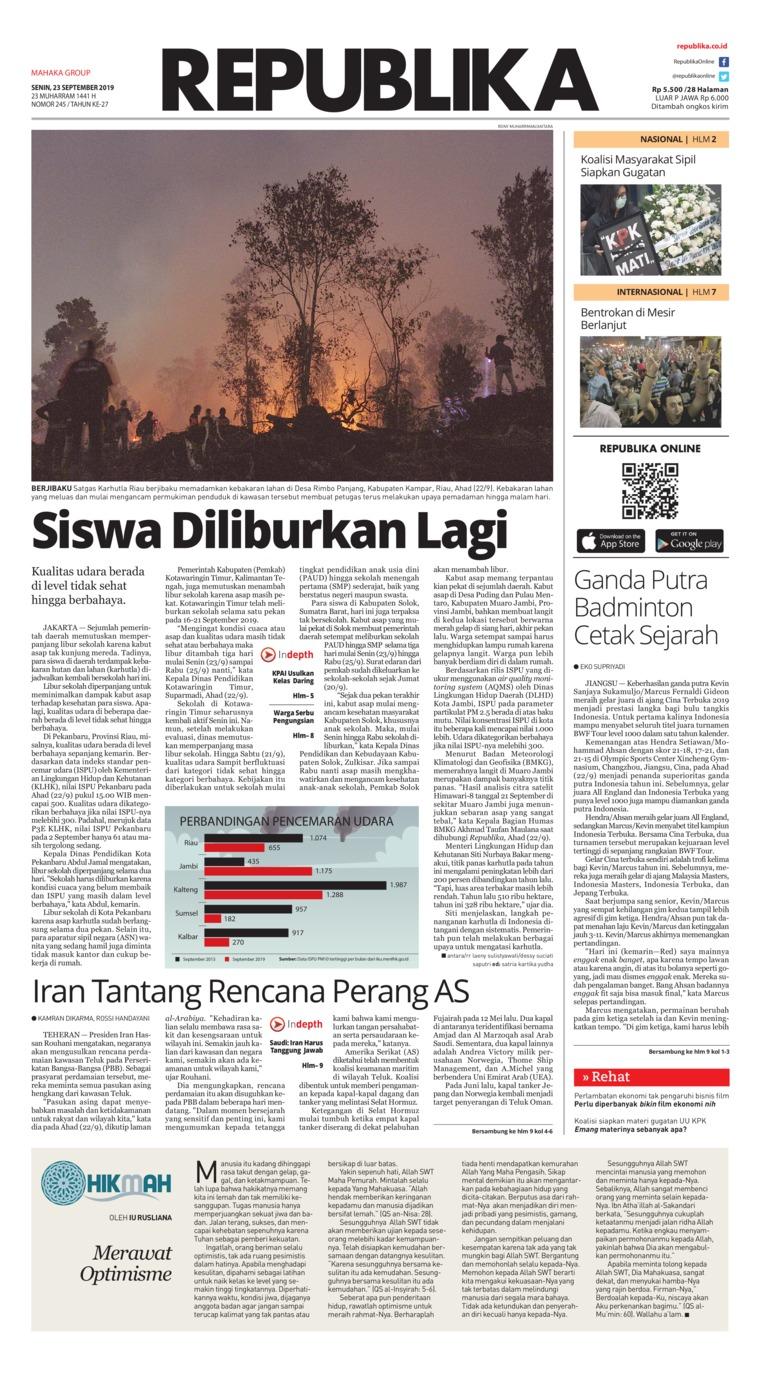 Koran Republika Digital Newspaper 23 September 2019