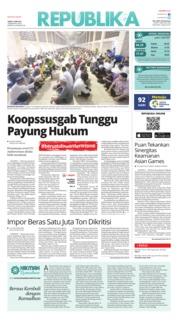 Cover Koran Republika 18 Mei 2018