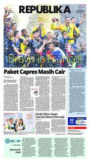 Cover Koran Republika 16 Juli 2018