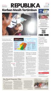 Cover Koran Republika 07 Agustus 2018