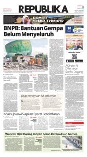 Cover Koran Republika 08 Agustus 2018