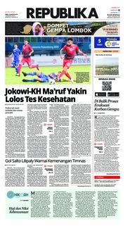 Cover Koran Republika 13 Agustus 2018