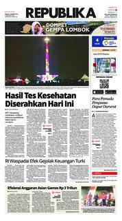 Cover Koran Republika 14 Agustus 2018
