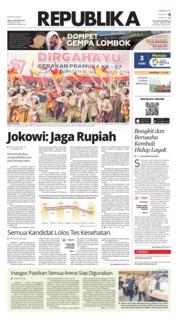 Cover Koran Republika 15 Agustus 2018