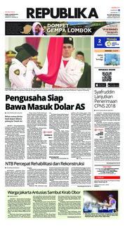 Cover Koran Republika 16 Agustus 2018