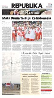 Cover Koran Republika 18 Agustus 2018