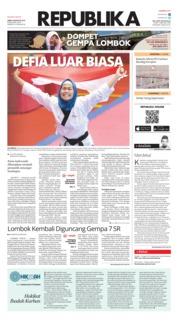 Cover Koran Republika 20 Agustus 2018