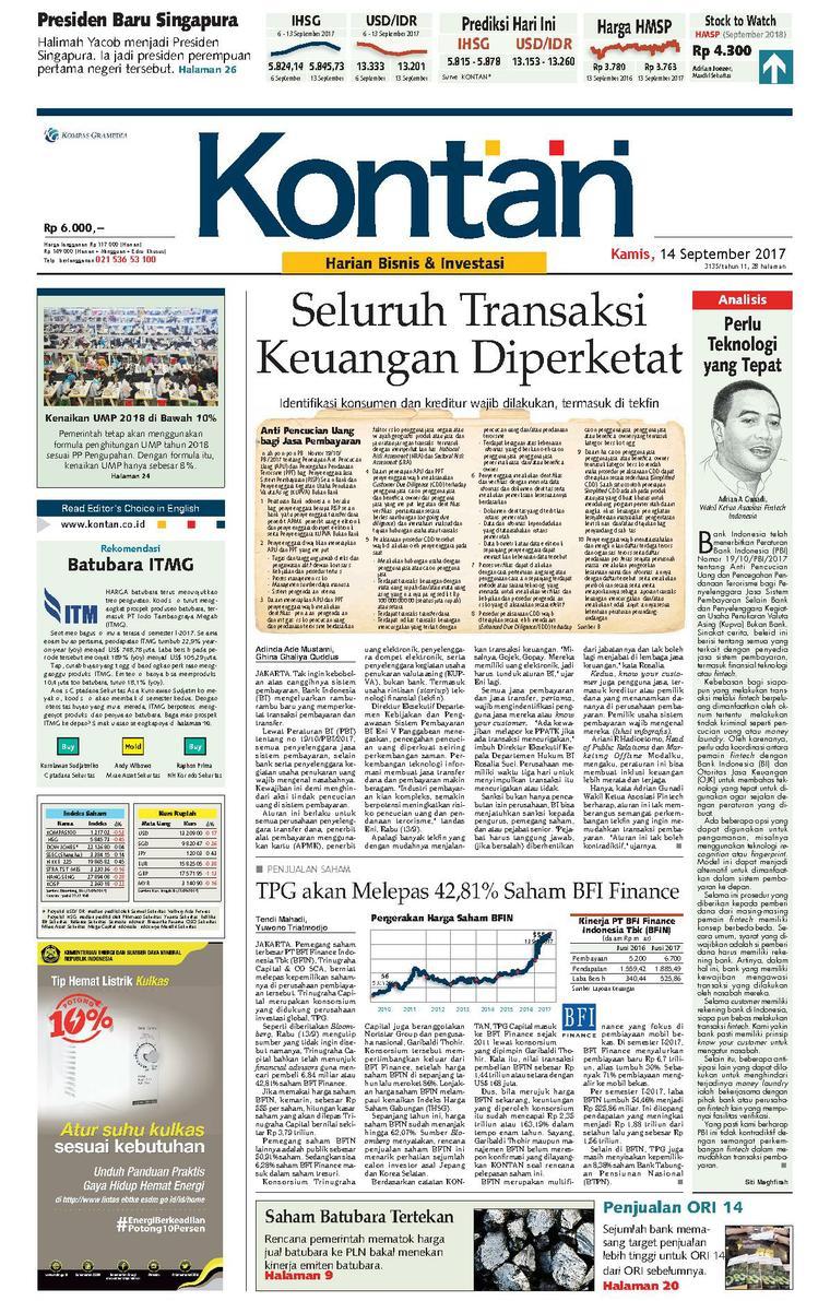 Koran Digital Koran Kontan 14 September 2017