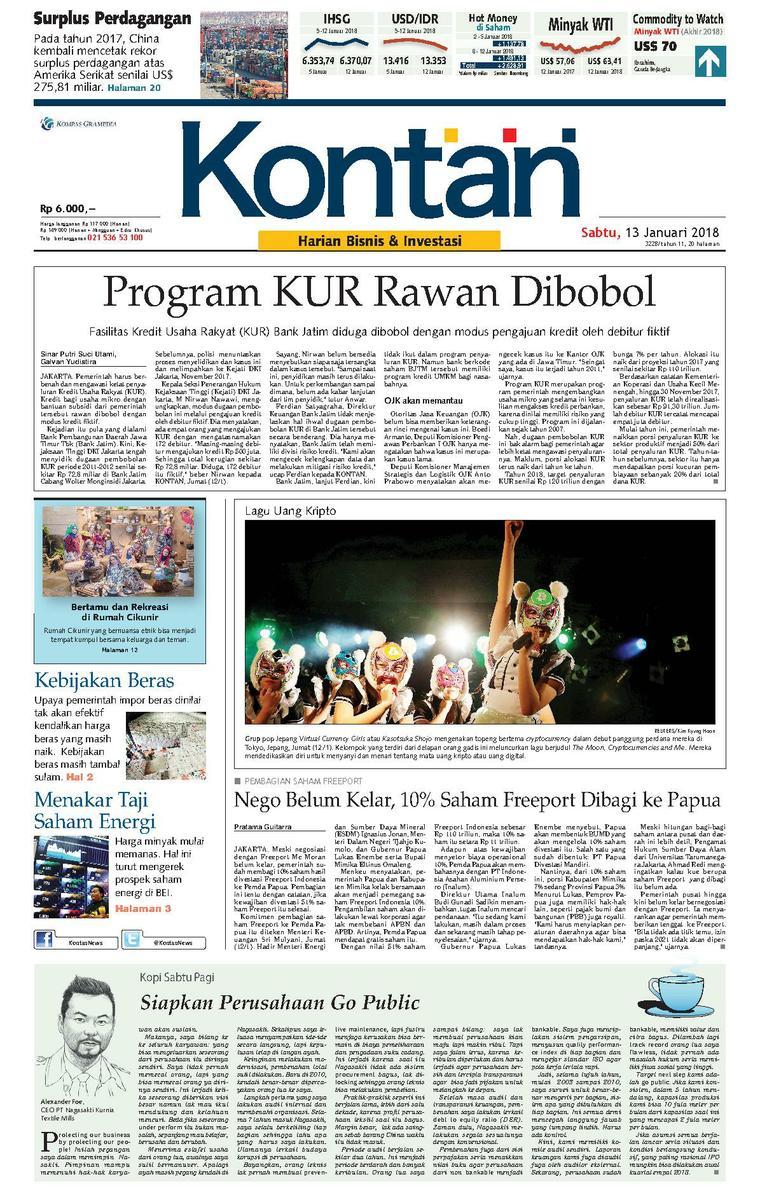 Koran Digital Koran Kontan 13 Januari 2018
