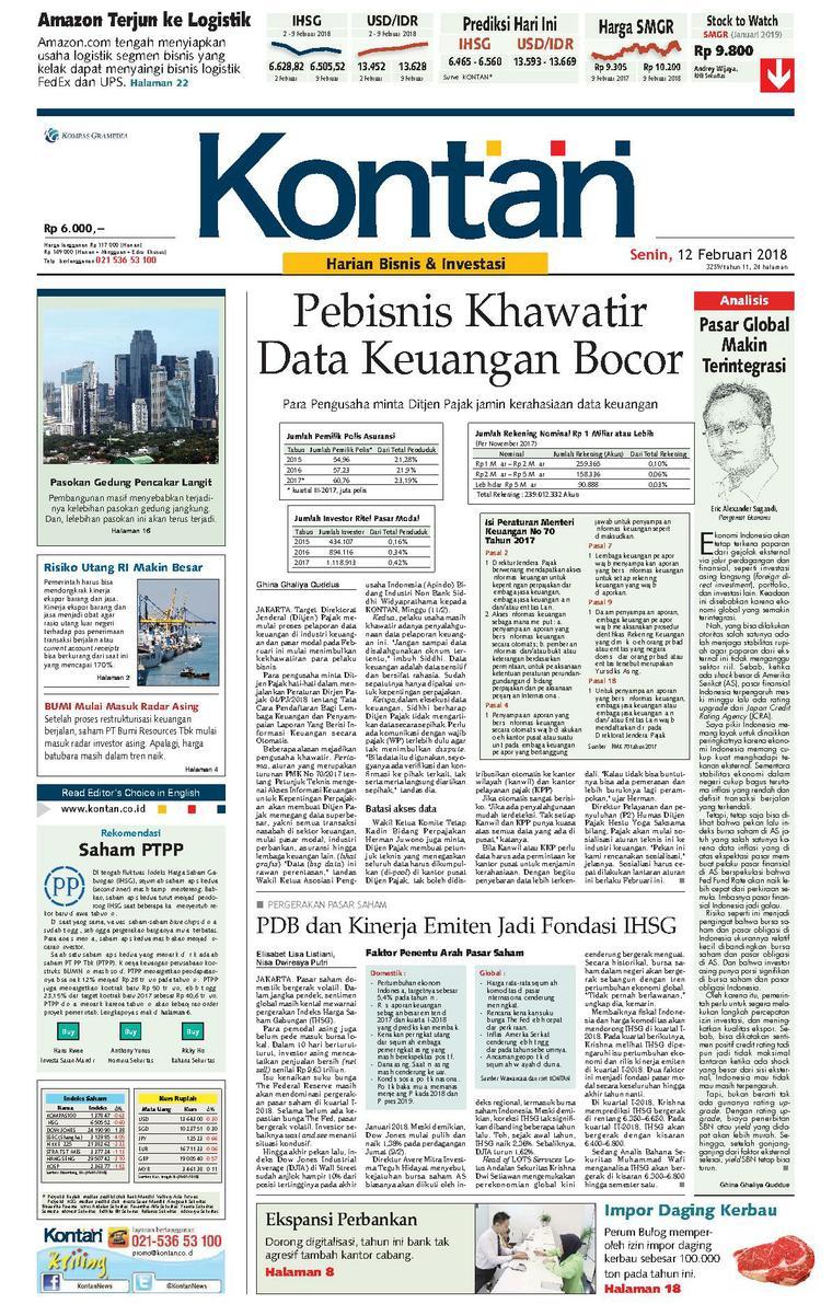 Koran Digital Koran Kontan 12 Februari 2018
