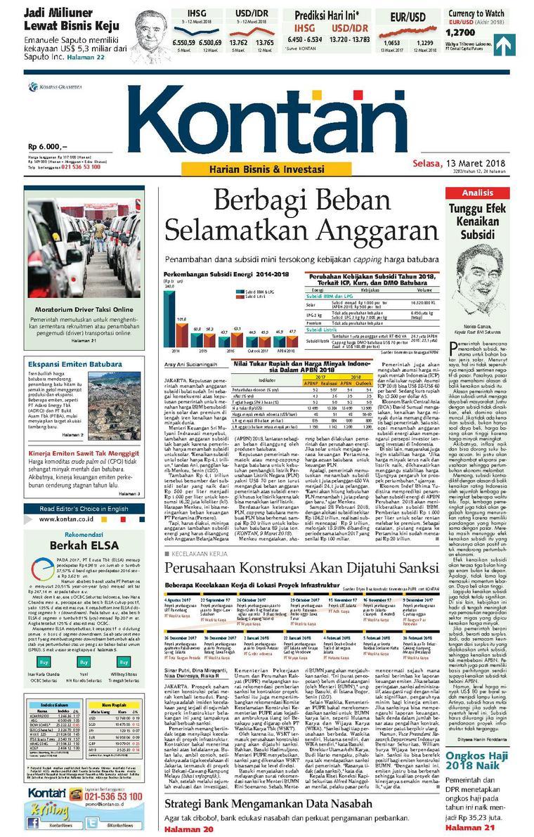 Koran Digital Koran Kontan 13 Maret 2018