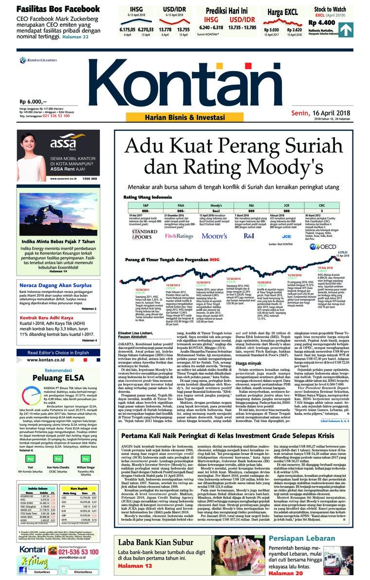 Koran Digital Koran Kontan 16 April 2018