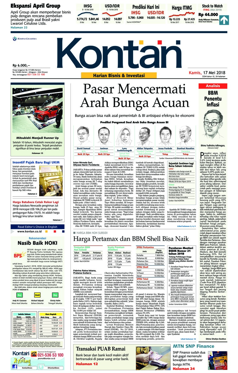 Koran Digital Koran Kontan 17 Mei 2018