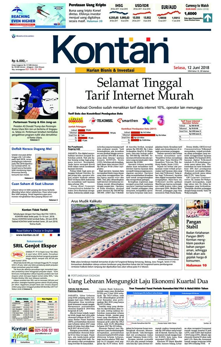 Koran Digital Koran Kontan 12 Juni 2018