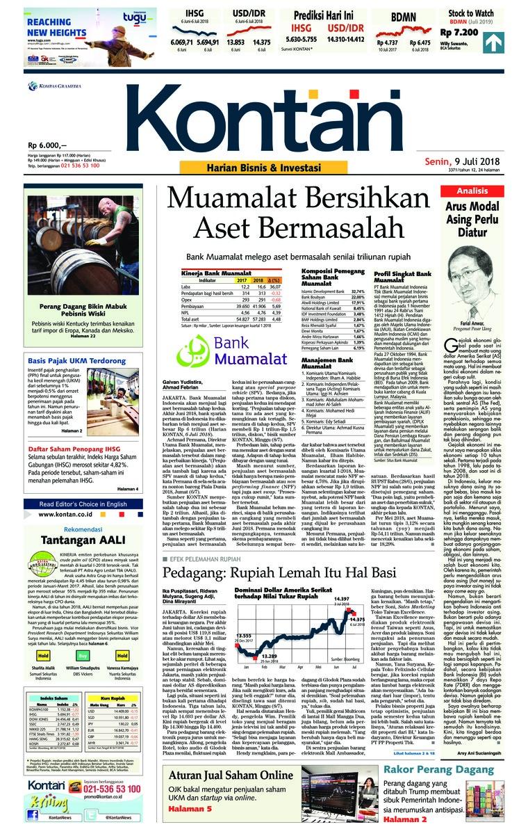 Koran Digital Koran Kontan 09 Juli 2018