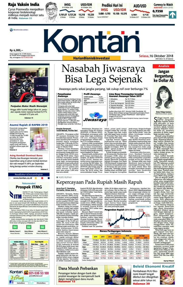 Koran Digital Koran Kontan 16 Oktober 2018