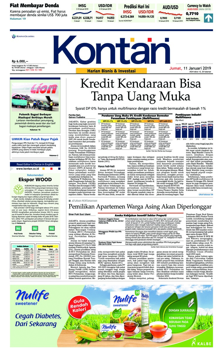 Koran Kontan Digital Newspaper 11 January 2019