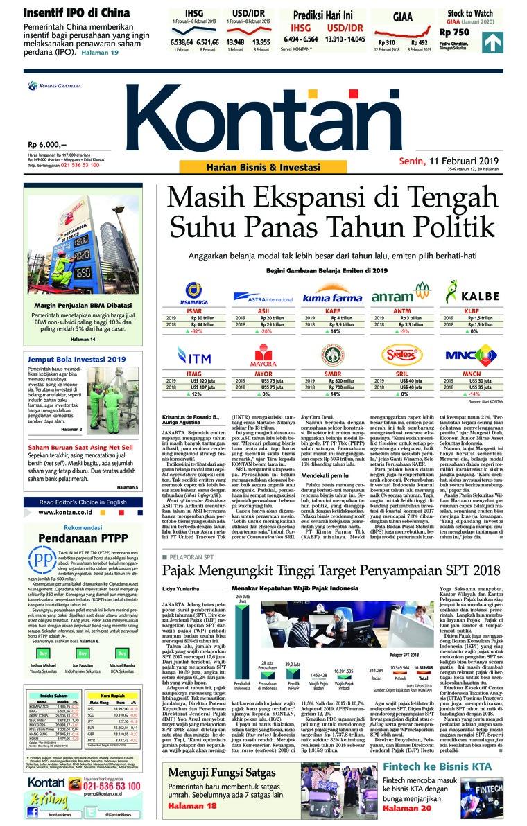 Koran Digital Koran Kontan 11 Februari 2019