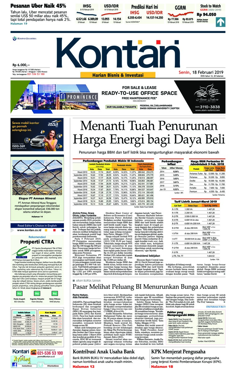 Koran Kontan Digital Newspaper 18 February 2019