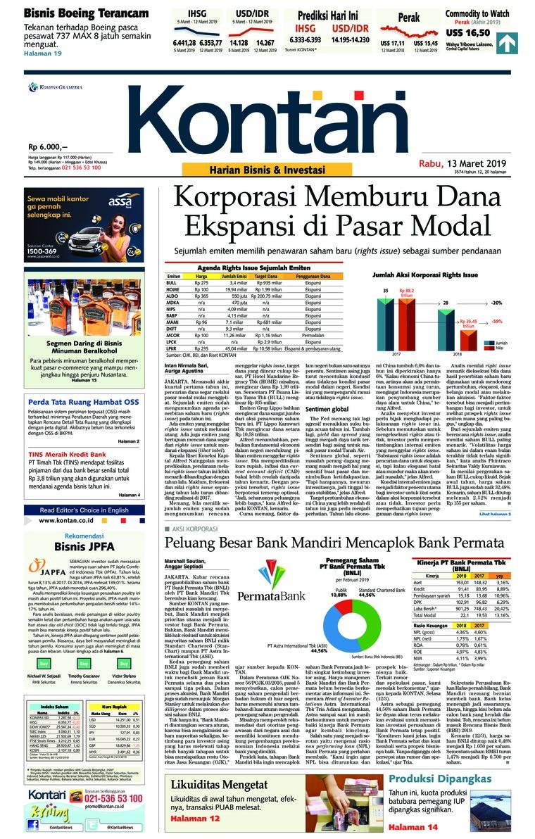 Koran Digital Koran Kontan 13 Maret 2019