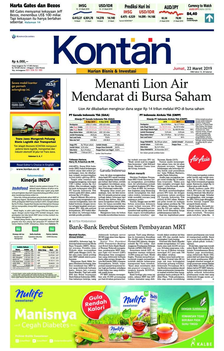 Koran Digital Koran Kontan 22 Maret 2019